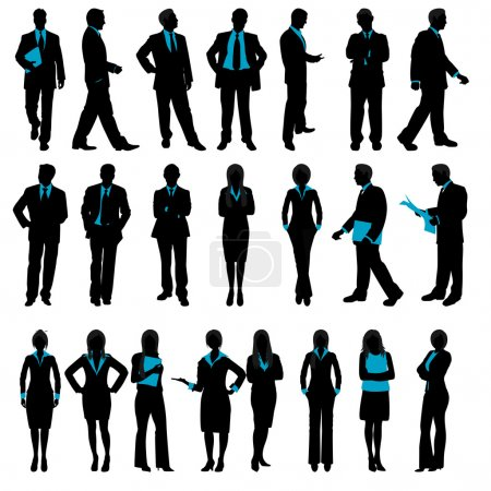 Photo for Illustration of set of silhouette of business on isolated background - Royalty Free Image