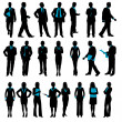 Illustration of set of silhouette of business on i...