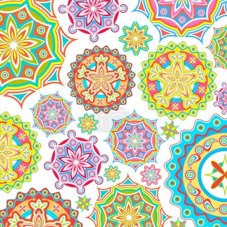 Illustration for Illustration of colorful floral pattern in retro style - Royalty Free Image