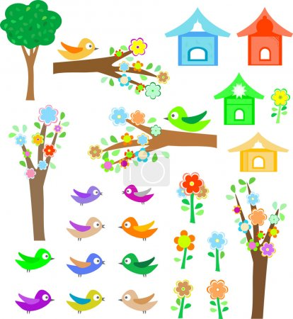 Set birds with birdhouses, trees and flowers