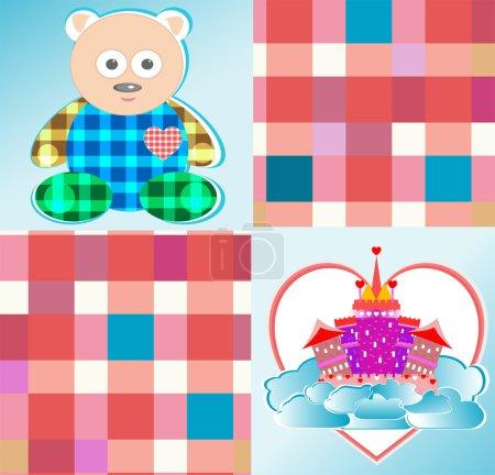 Magical fairytale castle pink and cute bear vector