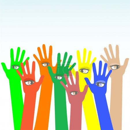 Happy multicolored vector hands with beautiful eye...