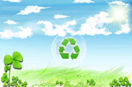 Photo pour Recycler le symbole. Dessin conceptuel de la conservation des planètes - image libre de droit