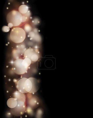 Photo pour Bordure de vacances abstraite de lumières bokeh lumineuses isolées sur fond noir, de belles étoiles brillantes et des paillettes, fond conçu dans le style de Noël - image libre de droit