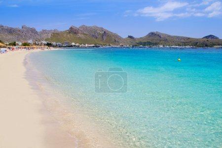 Pollensa sand beach in Mediterranean Mallorca island