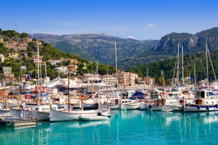 Port de Soller view with tramontana mountain in Mallorca