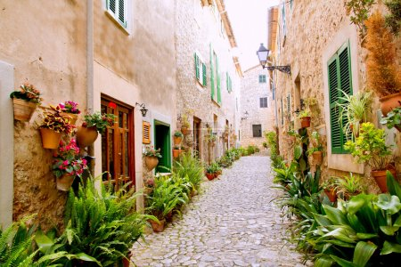 Photo for Majorca Valldemossa typical village with flower pots in facades at Spain - Royalty Free Image