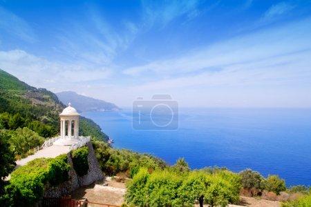 Es Galliner gazebo in Son Marroig over Majorca sea