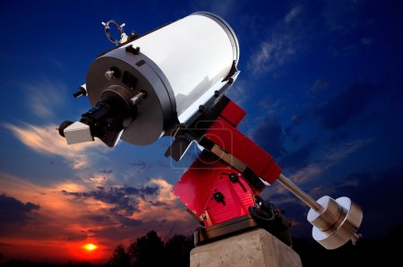 Photo for Astronomical observatory telescope sunset dramatic sky - Royalty Free Image