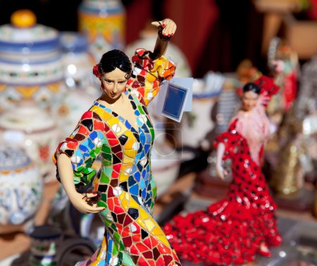 Photo for Gipsy flamenco dancer woman statue crafts in Spain - Royalty Free Image