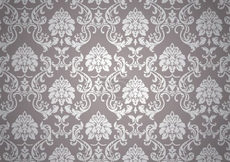 Illustration for Luminous baroque wallpaper, white and beige on revival style - Royalty Free Image