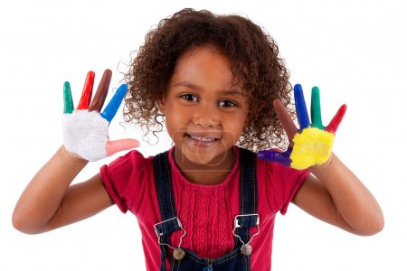 Photo for Little African Asian girl with hands painted in colorful paints - Royalty Free Image