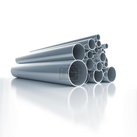 Photo pour Beaucoup de tuyaux en acier pliés - image libre de droit