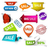 Collection of colorful vector sale tickets labels stamps stickers corners tags on white background