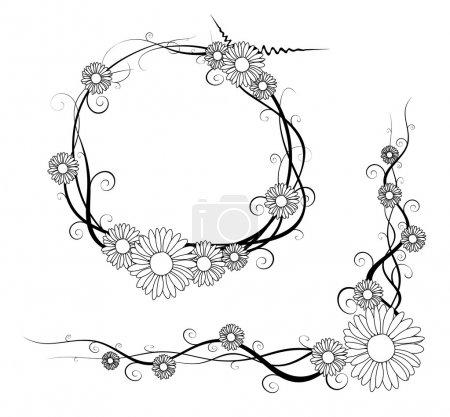 Vector daisy frame and corner