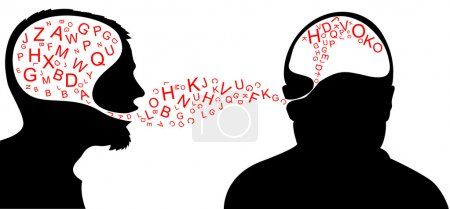 Illustration for Dialogue - one person is speaking and one listening - Royalty Free Image
