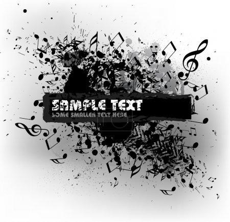 Illustration pour Grunge fond musical avec taches et place pour votre texte (noir et blanc) - image libre de droit