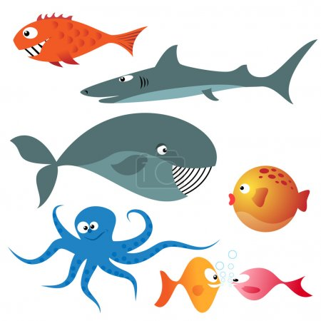 Illustration pour Ensemble de divers animaux marins (poissons, pieuvre, baleine, requin) - image libre de droit