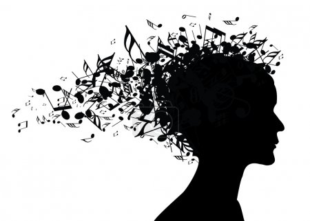 Music woman portrait silhouette