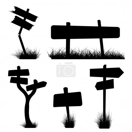 Illustration for Set of various signposts silhouettes - Royalty Free Image