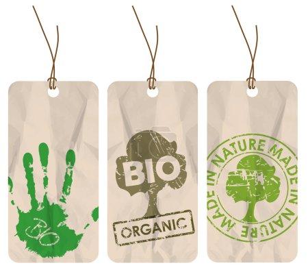 Grunge tags for organic, bio, eco