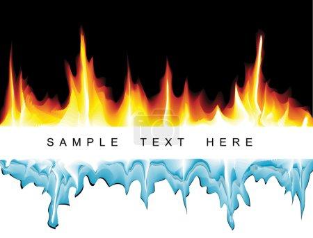Illustration pour Fond vectoriel avec flammes et glaçons - image libre de droit
