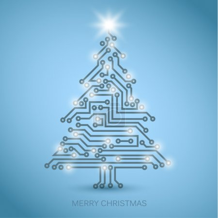 Illustration for Vector christmas tree from digital electronic circuit - blue version with white lights - Royalty Free Image