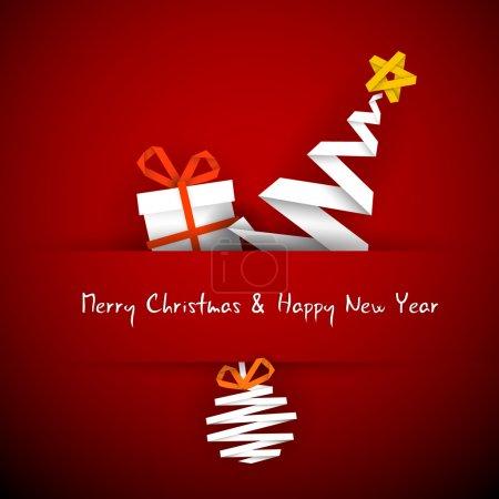 Illustration pour Carte de Noël simple vecteur rouge avec cadeau, arbre et boule en bande de papier - image libre de droit