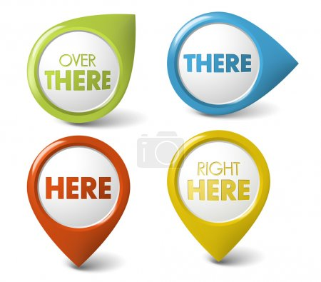 Illustration for Vector Round 3D here or there pointer - button (call to action) - Royalty Free Image