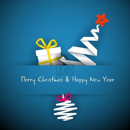 Photo for Simple vector blue christmas card with gift, tree and bauble made from paper stripe - Royalty Free Image