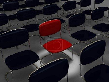 Photo pour Salle de conférence vide ou espace d'attente avec chaises noires - image libre de droit