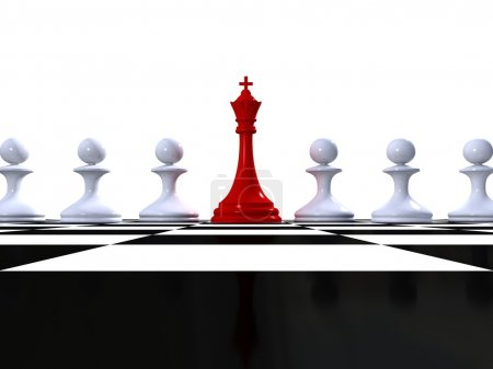 Red king and rows of white pawns on chessboard. Leader and team