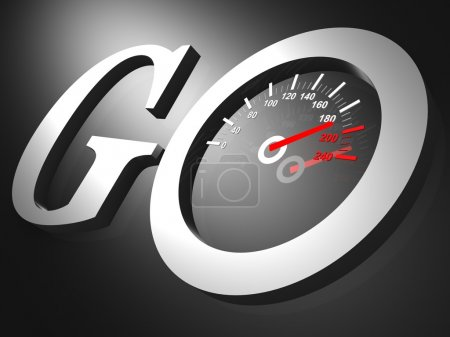 A speedometer with needle racing into high speeds appears in the words Go
