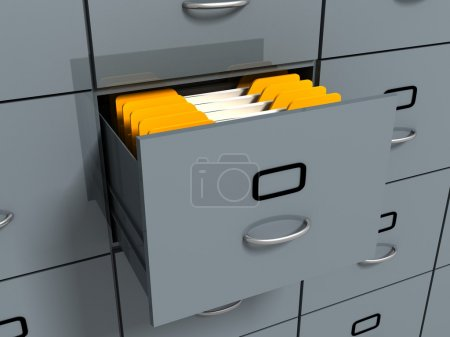 Filing office cabinet with yellow folders