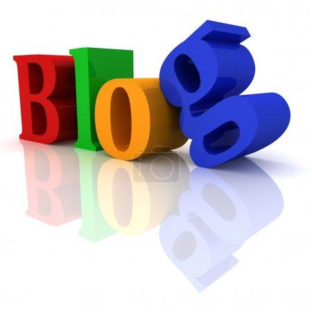 bunter Blog-Header-Text mit Reflexion