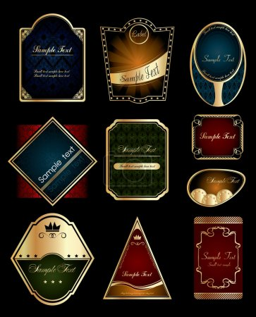 Vector set: gold-framed vintage labels on black