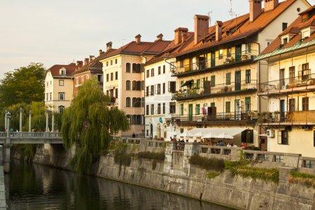 Medieval facades in Ljubljana old city centre