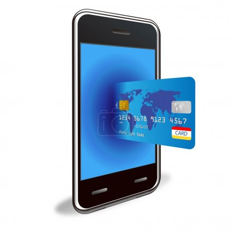 Vector smart phone with a credit card