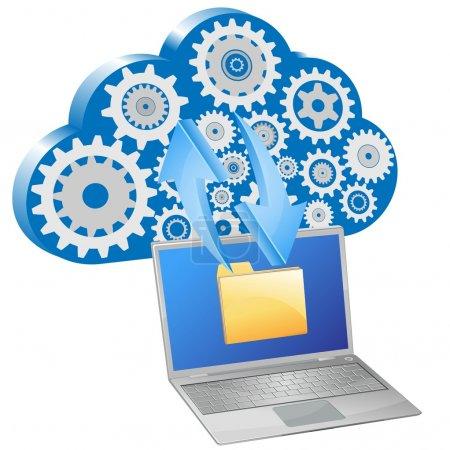 Vector laptop computer exchange of data with cloud
