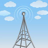 Vector communication antenna on cloudy background