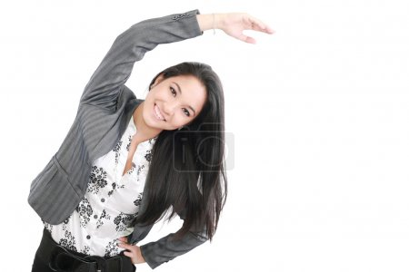 Photo for Business woman portrait stretching isolated over a white background - Royalty Free Image