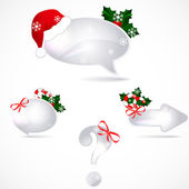 Set of speech bubbles with Christmas decoration