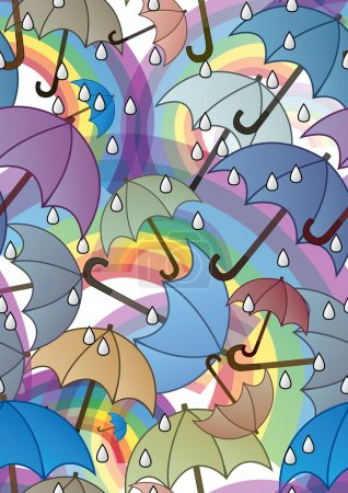 Photo for Seamless pattern with rainbows and umbrellas - Royalty Free Image