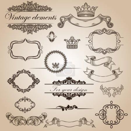 Illustration for Set of vintage elements for your design - Royalty Free Image