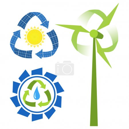 Recycle sources of energy - water, sun and wind. C...