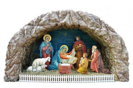 Photo pour Un modèle traditionnel de Noël ukrainien de crèche avec l'enfant, la mère Marie et joseph, bergers et l'adoration des mages - image libre de droit