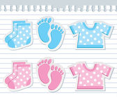 Cute baby stickers on realistic paper sheet
