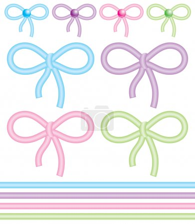 Illustration for Set of cute bows on white background - Royalty Free Image