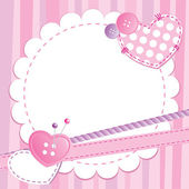 Cute pink frame with buttons and patches