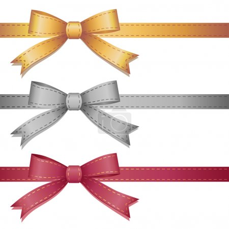 Illustration for Set of three leather bows on white background - Royalty Free Image